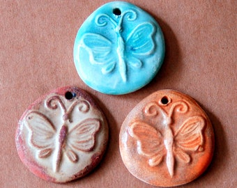 3 Handmade Ceramic Butterfly Beads - Butterfly Pendants - Sweet Focal Beads for Summer - Rust, Aqua and Orange Butterfly Charms