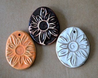 3 Handmade Ceramic Sunburst Pendants - Sun Beads in neutral, brown and orange - Summer Focals for Primitive Jewelry