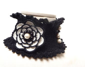 Crocheted Black and White Neckwarmer / Necklace with Big Flower and Glass Pearls - Lux Cowl Choker - BIG FLOWER