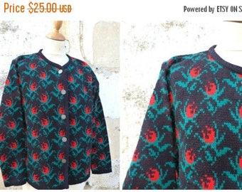ON SALE Vintage 1970/70s Folk tapestry pattern cardigan sweater Black forest Tyrol october fest size L