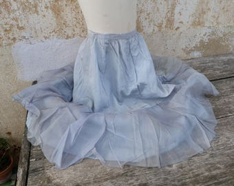 Vintage 1900/1920s French girl costume disguise size 8/10 years / soft blue taffetas  silk with chiffon ruffle