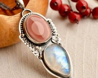 Summer Sale Moonstone Jewelry, Jasper Jewelry, Rainbow Moonstone Jewelry, Moonstone Pendant, Pink Stone Jewelry, Metalsmited Jewelry
