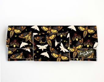 Vinyl Long Wallet - Moths and Fireflies / vegan, pretty, large wallet, clutch, card case, vinyl wallet, woman, butterfly, insect
