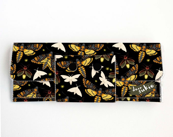 Vinyl Long Wallet - Moths and Fireflies / vegan, pretty, large wallet, clutch, card case, vinyl wallet, woman, butterfly, insect