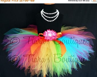 SUMMER SALE 20% OFF Rainbow Tutu - Custom Sewn Pixie Tutu - Aura - A Magical Rainbow Tutu