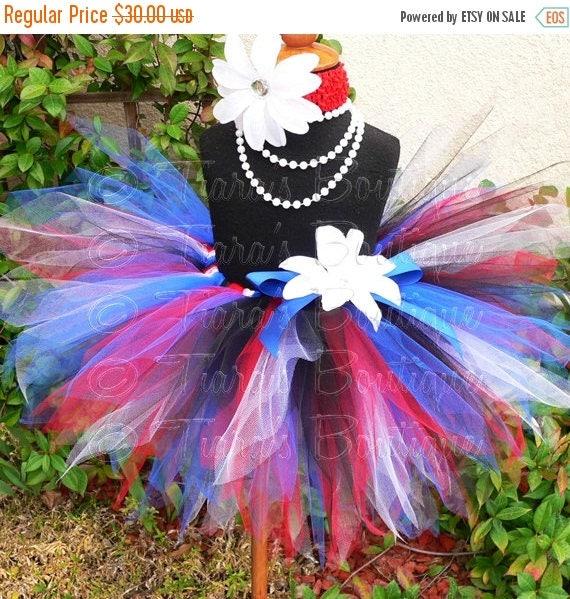 "SUMMER SALE 20% OFF Girls Birthday Tutu Skirt - Rockin' in the Usa Tutu - red white blue black - Sewn 11"" Pixie Tutu - 4th of July, Military"