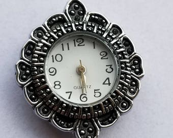 Watch Face Antiqued Silver Plated