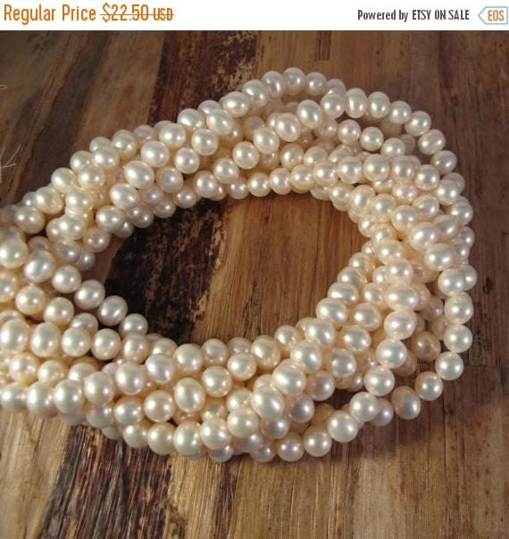 Summer SALEabration - Creamy White Freshwater Pearls, 6.5mmx 6mm, Medium Ivory Potato Pearls, 16 Inch Strand with About 80 Pearls (P-P7)