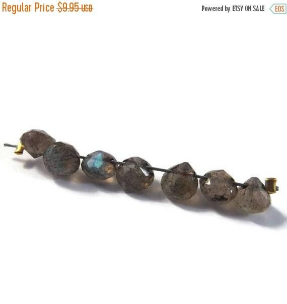 Summer SALEabration - Seven Labradorite Beads - Natural Gemstones - Top Drilled Onions - 7 Stones - 5x5mm - 6x6mm (L-Mix6b)