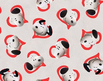 """Quilting Treasures, """"Good Friends"""" Snoopy in red Hearts,  yard"""