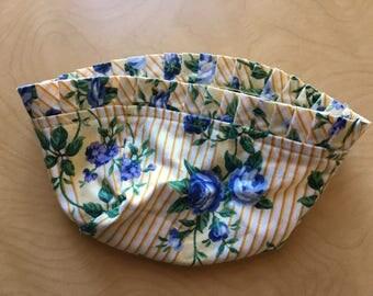 1980s Longaberger Floral Liner Rose Trellis For Mini Cradle Basket Yellow Blue Fabric