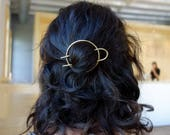 Hammered Brass  Bun Pin - Hair Slide - Brass Hair Clip - Geometric Hair accessory - Hair Jewelry - Geometry