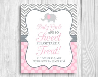 Custom Baby Girls Are So Sweet Please Take A Treat 8x10 Printable Elephant Baby Shower Candy Buffet Sign RESERVED FOR COLLEEN