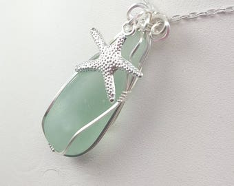 Sea Glass Necklace Sea Glass Jewelry Sea Glass Pendant Aqua Sea Glass Necklace Wire Wrapped Sea Glass Pendant N-542