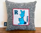Rabbit Pillow, First Easter, Easter Rabbit, Letter R, Baby Pillow, Alphabet Decor, Cot Pillow, Kids Decor, Baby Cushion, Nursery Decor, fed
