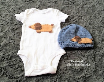 Kids Baby Wiener Dog Dachshund inspired Bodysuit and Hat set, Dog Baby Apparel, Dog baby nursery set, baby shower gift outfit with dog theme