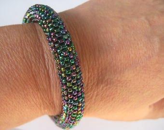 Beaded Bangle Bracelet in Peacock Seed beads, hand woven