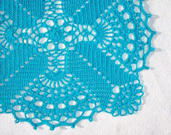 handmade blue cotton thread crochet squared doily -- 2692