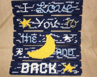 Love you to the moon and back fence wall hanging