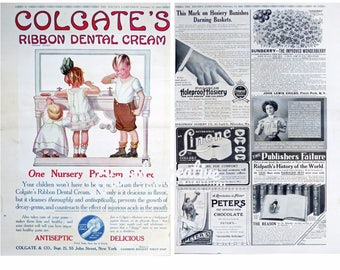 1910 Colgate's Dental Ribbon Cream AD 2 Sided Misc Ads Hosiery,Chocolate,Collars