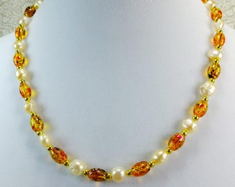 Freshwater Pearls and Amber Glass Beads Necklace