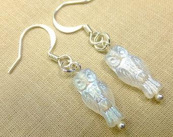 Tiny Detailed White Translucent Owl Dangle Earrings Very Lightweight