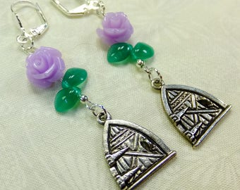 Lavender Resin Roses Fantasy Dangle Earrings Pewter Fairy Door Charms with Green Glass Leaf Beads with Lever Back Ear Wires