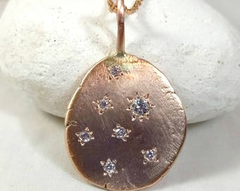 recycled 14 kt Rose gold and diamond necklace, gold and Diamond  pendant, Large Organic Rose Gold pebble necklace