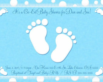 Personalized Baby Feet shower invitation ANY COLOR Digital Design