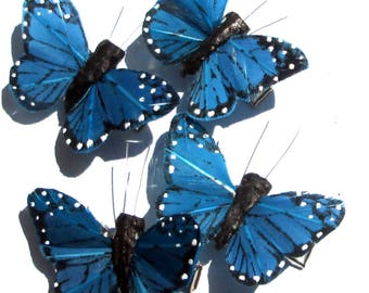 Butterfly Hair Clips small Blue Monarch feather butterfly hand made hair clips by Ziporgiabella