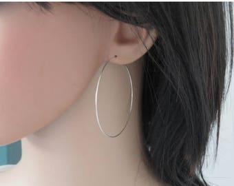 SALE - Extra large hoop earrings 2 inch, Big hoop earrings, Large silver hoop earrings