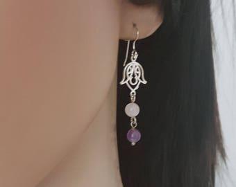 Amethyst and Rose Quartz Dangle Earrings, Silver Lotus Earrings, Yoga Earrings