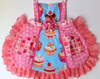 Fluffy Frosted Cupcake Apron, toddler apron, girls apron