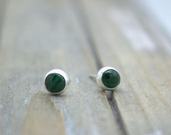 Malachite Sterling Silver Stud Post Earrings - Malachite jewelry