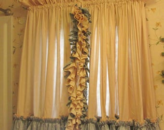 "Vintage Ruffled Country Curtains - Natural Muslin  and Blue Cotton - One Pair Short- 40"" by 156"""
