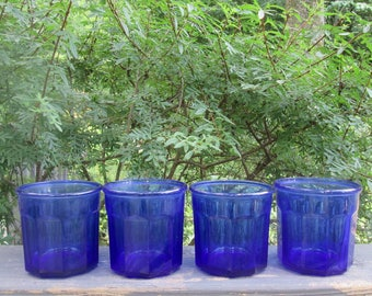 Four Short Cobalt Blue Glasses - Vintage Luminarc Beverage Glasses - Made In France