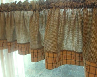Vintage Window Valances - Green and Tan Cotton Gingham Valance - Country Curtains