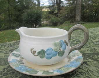 """Metlox Poppy Trail Gravy Boat and Drip Plate - Vintage """"Blue Sculptured Grape"""" Pottery - Made In California - 1960s"""