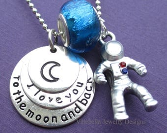 Necklace I love you to the Moon and back saying 3D astronaut crescent moon planet outer space girls charm necklace kids tween teen jewelry