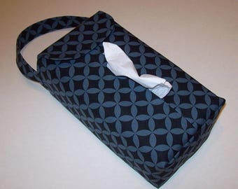 NEW!  Automobile Hanging Tissue Box Cover / Tissue Box Cozy / Automobile Accessory For Your Car / Gray And Black Tiles