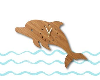 Home Decor, Nursery Decor, Wall Clock, Dolphin, Baby shower gift, gift for baby