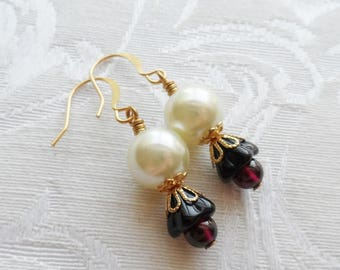 75% Off Clearance Sale, Black Czech Glass Lily Flower, Genuine Garnet Bead, Faux Pearl, Gold Finish