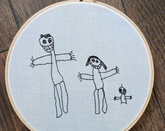 Embroidered kids drawing. Embroidered children's drawing. Embroidered kids art.