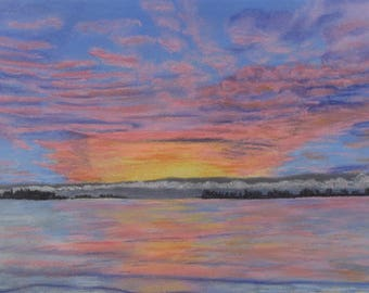 "Original pastel painting ""Daybreak on Amherst Island Number Five"" 8"" x 11"" neither mat nor frame are included"