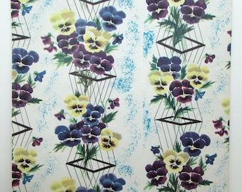 Vintage Gift Wrap - Vintage Wrapping Paper - Pansies - Purple Flowers - Mid Century