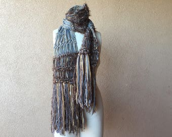 Grey and Brown Scarf Hand Knit Mens Scarf Knit Accessories Manly for Him in Camel Bronze and Steel Gray Brown and Grey Scarf