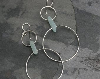 On Sale 30% Off Paradise Sea Glass Hoops, Summer Style Sterling Silver Earrings Hawaii Jewelry, Dangle Authentic Hawaiian Beach Glass, Frost