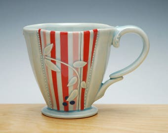 Red Super Stripe Deluxe Clover cup in Frost Gloss w. Pink & Navy, Victorian mod
