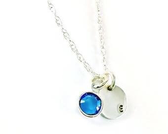 SUMMER SALE Birthstone Initial Necklace, Sterling Silver Necklace, Personalized Birthstone Necklace, Handstamped Letter Necklace