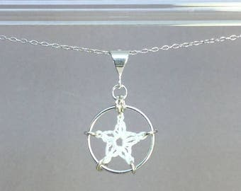 Stars, white silk necklace, sterling silver